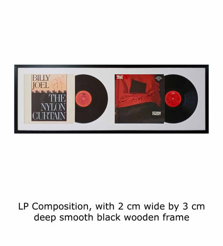 LP Composition, with 2 cm wide by 3 cm deep smooth black wooden frame