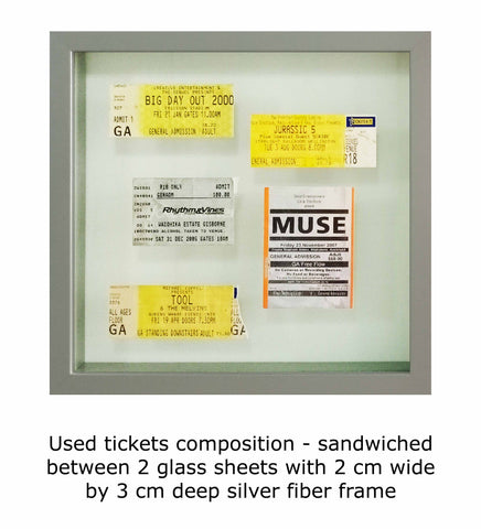 Used tickets composition - sandwiched between 2 glass sheets with 2 cm wide by 3 cm deep silver fiber frame