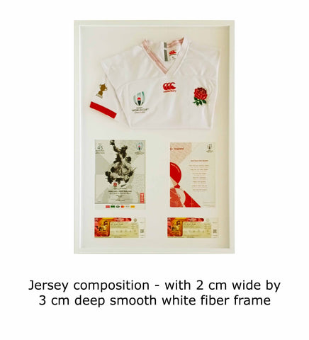 Jersey composition - with 2 cm wide by 3 cm deep smooth white fiber frameJersey composition - with 2 cm wide by 3 cm deep smooth white fiber frame