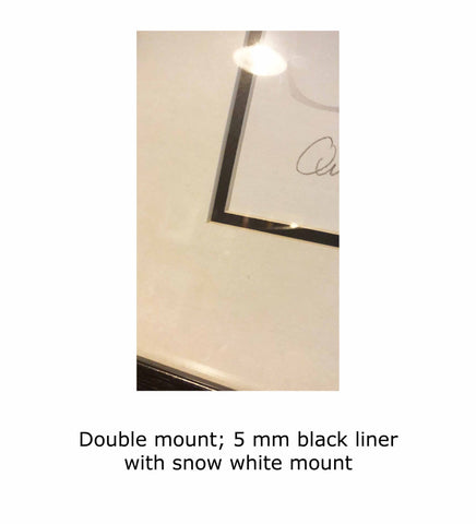 Double mount; 5 mm black liner with snow white mount