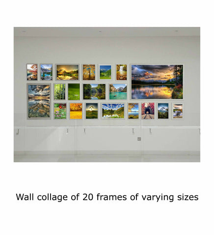 Wall collage of 20 frames of varying sizes
