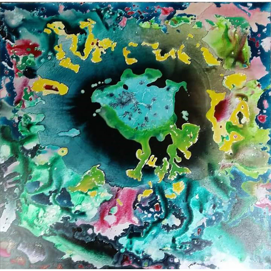 A coral reef like painting using alcohol ink on yupo paper