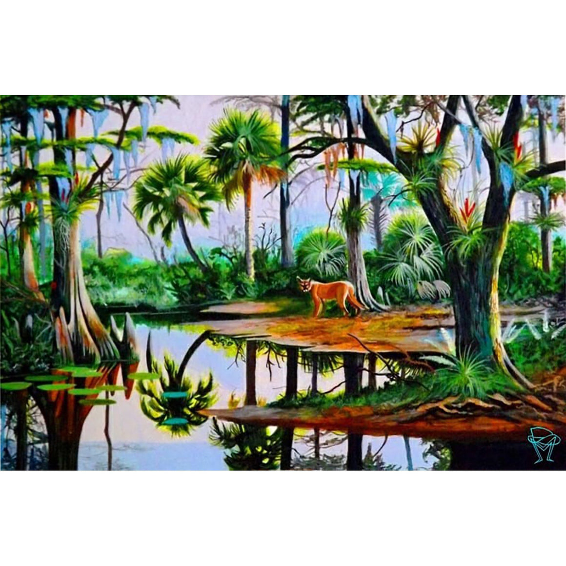 A cougar on a swamp forest