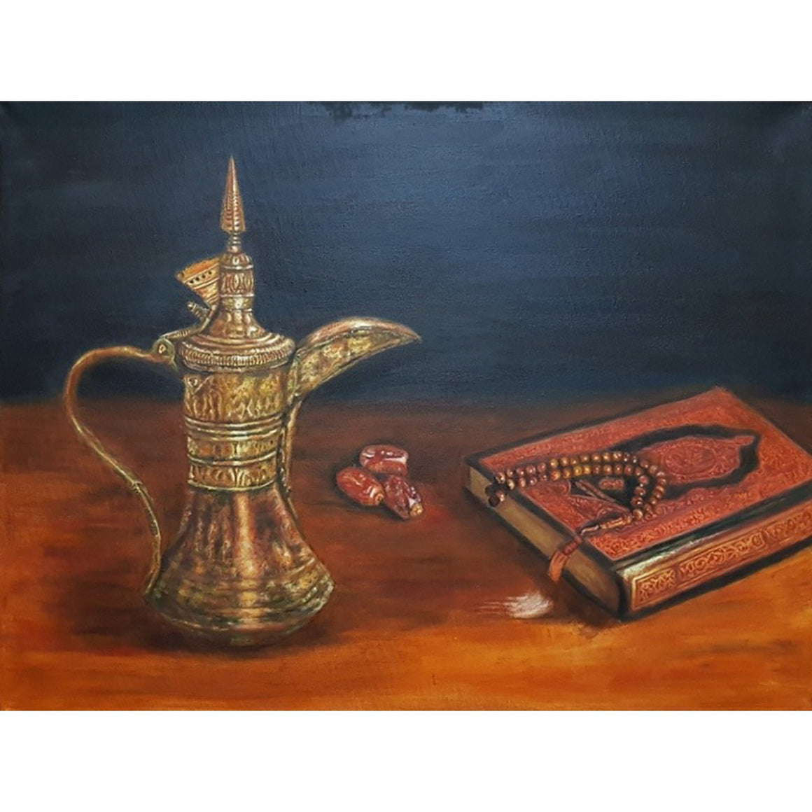 Arabic coffee pot beside the dates, Quran and prayer beads on the table