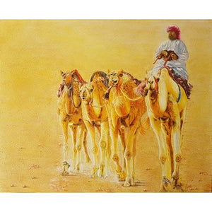 One Arabian man riding a camel along with 3 other camels