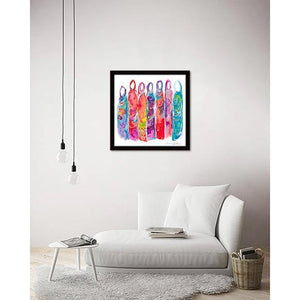 Hijabis in Color on living room wall