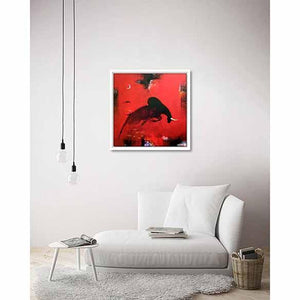 Bull Red I on living room wall