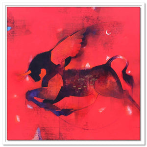 Framed Canvas Flying Bull