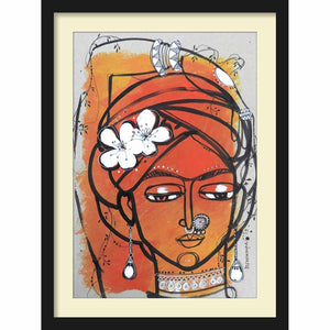 Framed Paper Bride in Turban 2