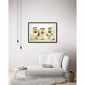 3 Sheikhs on living room wall