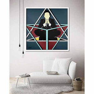 Air Octahedron Blue on living room wall