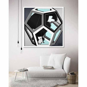 Cosmos Dodecahedron Realise Light Blue on living room wall