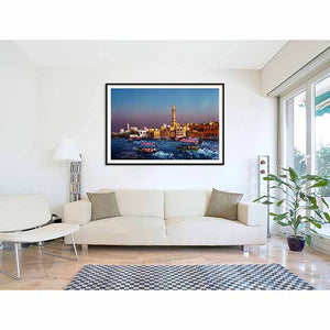 Dubai Creek on living room wall