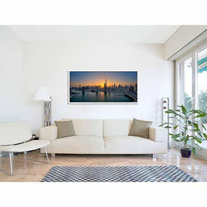 Panoramic Sunset on Business Bay on living room wall