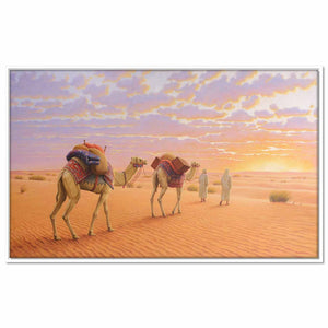 Framed Canvas Gulf Desert Sunset