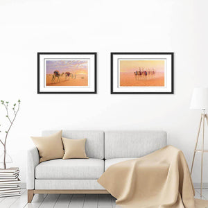 Gulf Desert Sunset and In the Gulf Desert on living room wall