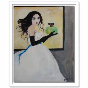 Framed Canvas Lady with Perfume Bottle
