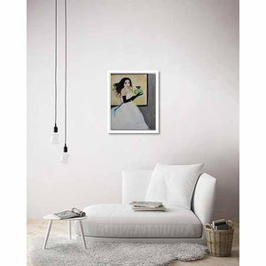 Lady with Perfume Bottle on living room wall