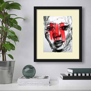 The Red Print on living room wall