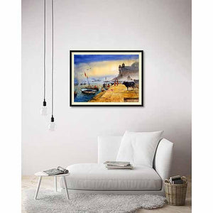 Banaras Ghat 2 on living room wall