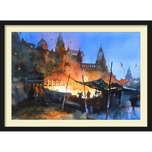 Framed Paper Banaras at Night