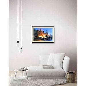 Banaras at Night on living room wall
