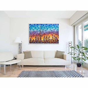 Dubai Skyline (pixels) on living room wall