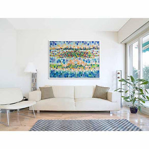 The Palm Jumeirah (pixels) on living room wall