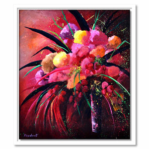 Framed Canvas Pink Still Life