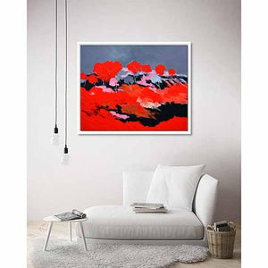 Red Landscape on living room wall