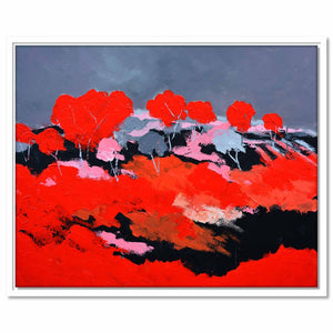 Framed Canvas Red Landscape