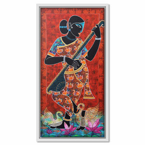 Framed Canvas Saraswati