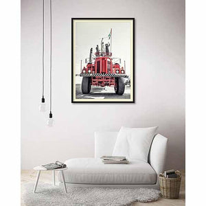 Red Truck on living room wall