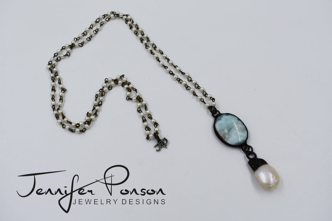 Pearl Necklace with Larimar and Pearl Pendant Necklace