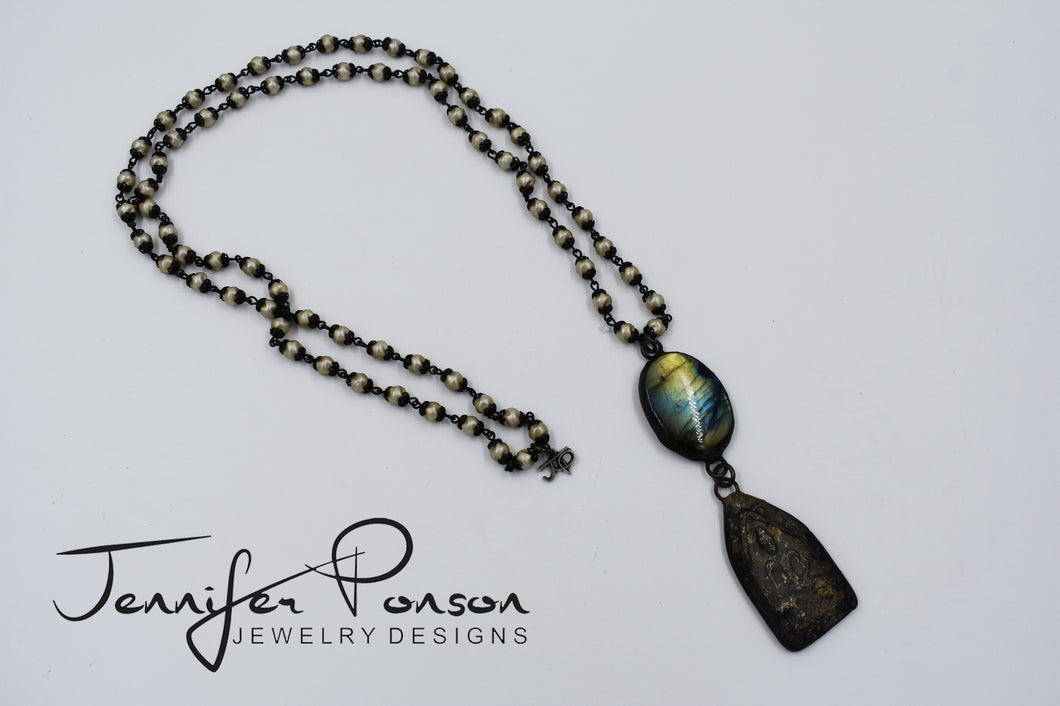 Pearl Necklace with Labradorite and Budda Pendant Necklace