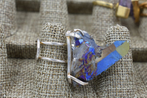 Blue Aura Cluster Ring