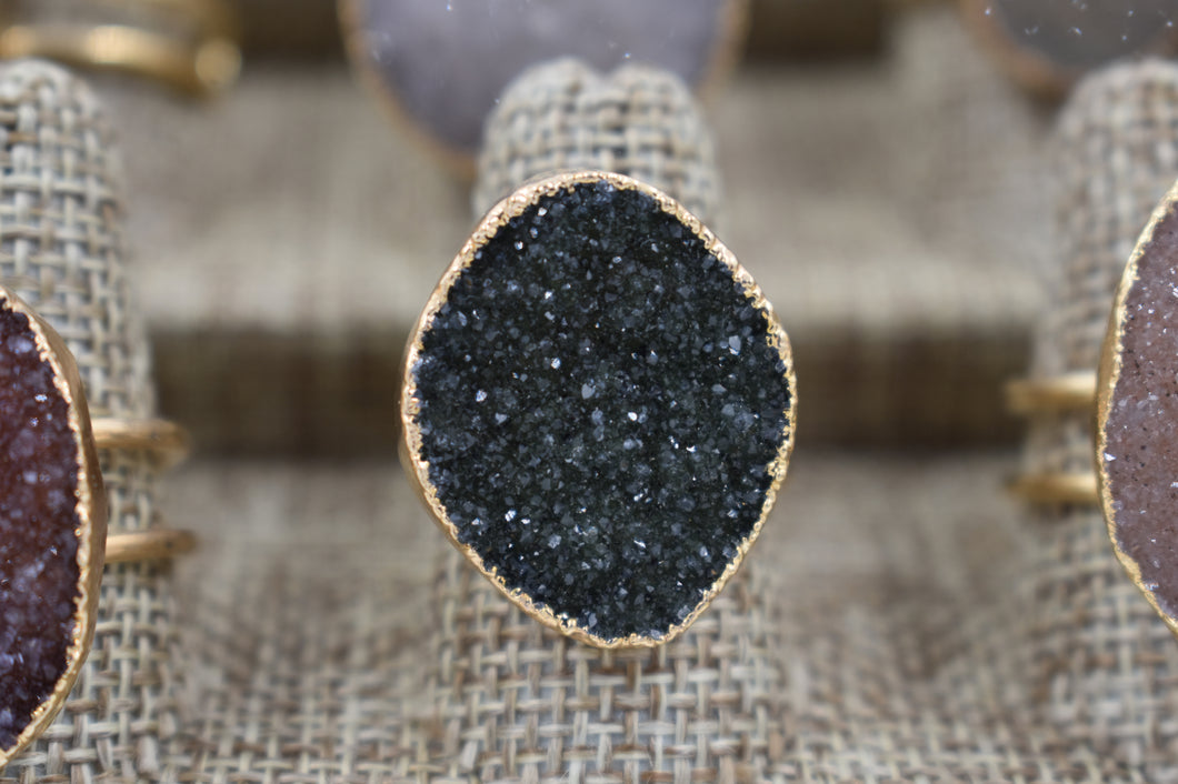 Green Amethyst Druzy Ring
