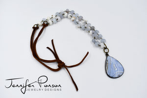 Blue Agate Bead and Leather Necklace with Blue Lace Agate Pendant
