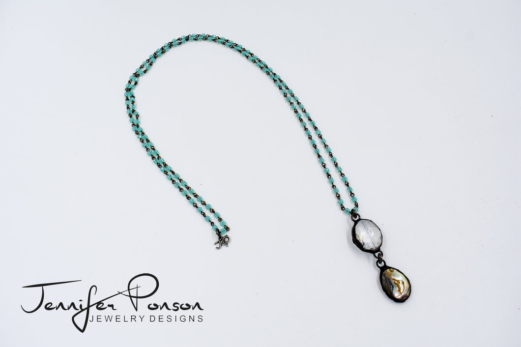 Green Chalcedony Necklace with Crystal and Abalone Shell Pendant