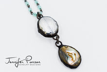 Load image into Gallery viewer, Green Chalcedony Necklace with Crystal and Abalone Shell Pendant