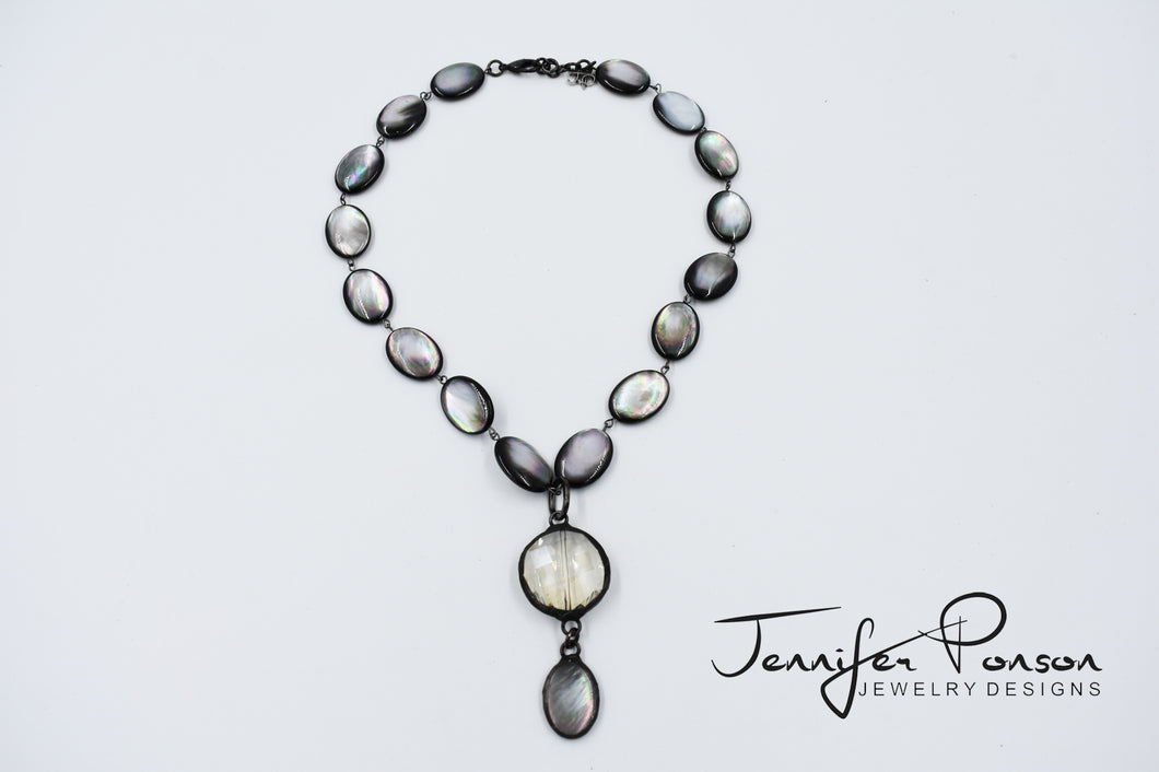 Mother of Pearl Necklace with Crystal and Mother of Pearl Drop