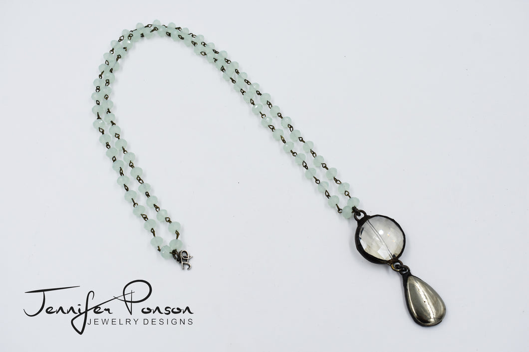 Green Chalcedony Necklace with Crystal and Pyrite Pendant