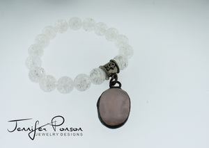 Crackled Clear Quartz Bracelet and Rose Quartz Pendant