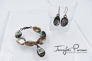 Abalone Shell Bracelet and Earrings Set