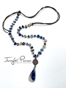 Sodalite Necklace with Copper Coin