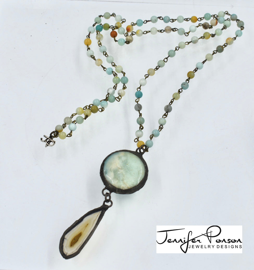 Amazonite Necklace with Amazonite and Agate Pendant