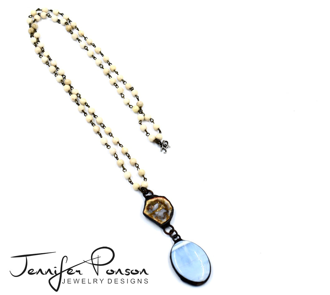 Sandstone Beaded Necklace with Petrified Wood and Blue Opal Pendants