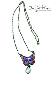 Butterfly and Crystal Pendant with Crystal Necklace