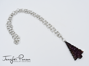 36'' Chain Necklace with Amethyst Christmas Tree