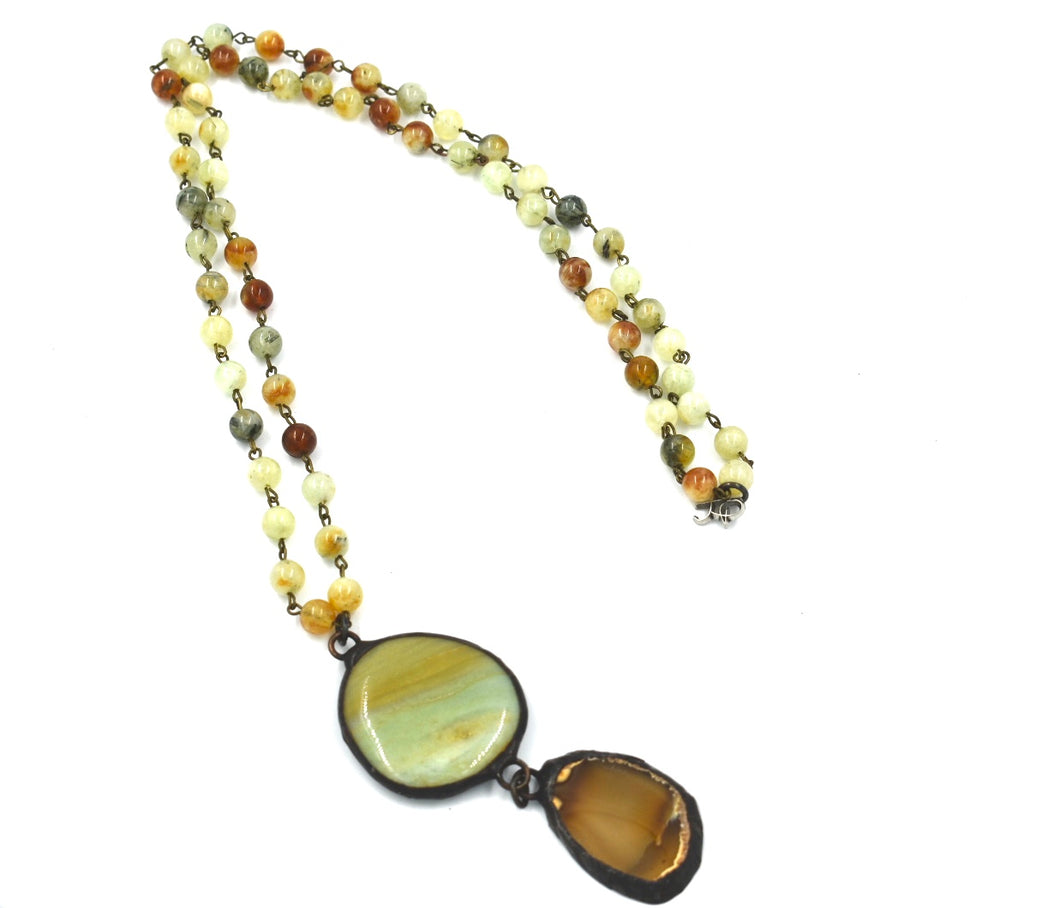 Pietersite Beaded Necklace with Jasper and Agate Pendants